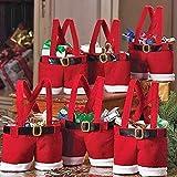 ZOGIN Bolsa de Caramelo de la Navidad / Bolsa de Regalo de Pantalones de Santa para Chocolates, Dulces y Otros Pequeños Regalos, Diseño de Papá Noel, Color Rojo - 5 Piezas
