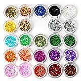 Newin Star 24 Box Nail Art Decorazione Glitter Paillettes Paillettes in Polvere