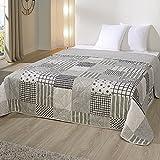 JEMIDI Bett und Sofaüberwurf XL Doppelbett gesteppt 220 x 240 Tagesdecke Überwurf Husse Decke XXL Tagesdecken Steppdecke gesteppt (Patchwork Streifen)