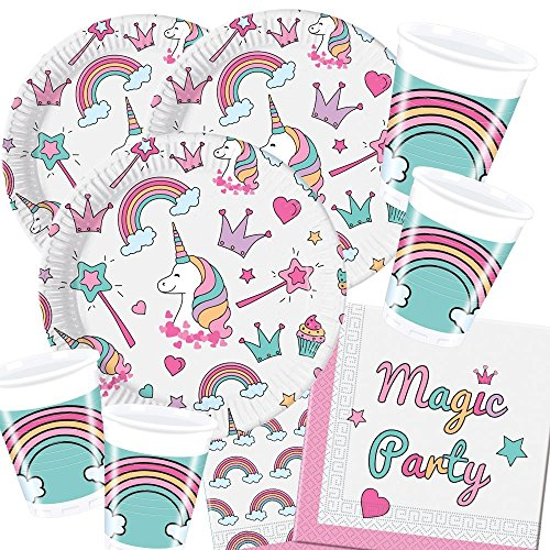 36-teiliges Party-Set Einhorn Magic Party - Unicorn - Teller Becher Servietten für 8 Kinder (Magic Party Servietten)