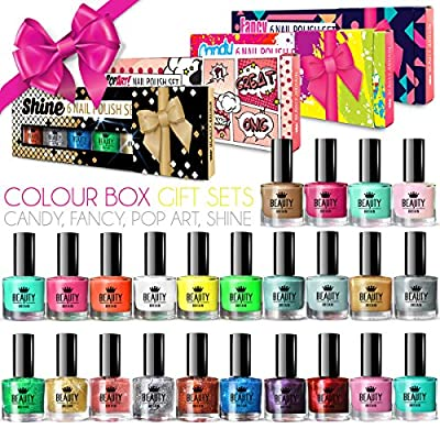 24 x Luxury Nail Polish 24 Different Shades 4 Gift Boxes High Quality Glitter Pastel Pearl Bright