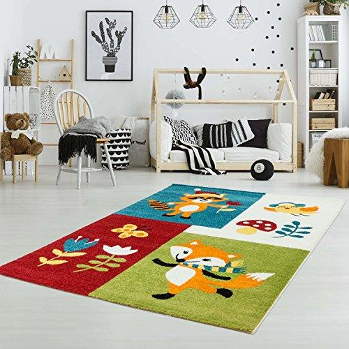 Kinderteppich Spielteppich Flachflor Kurzflor Tier-Natur-Design Fuchs Soft Bunt Kinderzimmer Größe 160/230 cm
