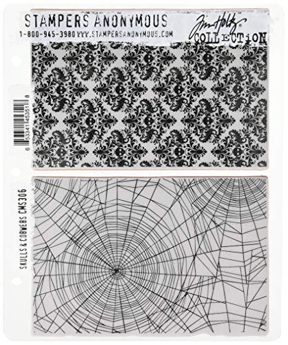 onymous Skulls und Spinnweben selbst Gummi-Stempel-Set, Kunststoff, Mehrfarbig, 24,8x 18,6x 0,8cm ()