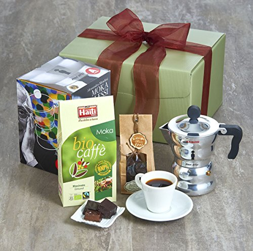 Luxury Coffee Hamper - What's not to Love About This Beautifully Designed Classic Alessi Moka Coffee Pot and Exquisite Organic Fairtrade Arabica Coffee Gift Set?