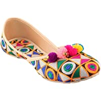 RYAG Women's Ethnic Rajasthani Handmade Jutti, Multicolor,