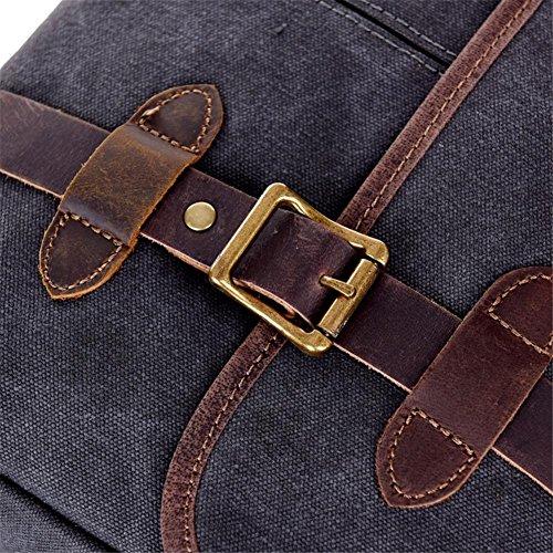 OOLIFENG Männer Segeltuch Handtaschen Schulter Kurier Beutel Leder Black