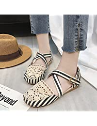 XING GUANG Neu Leicht Zu Tragende Flache Fliege Sandalen Fashion Toe Low-Heels StrandschuheBlack(35)  Black(35)