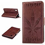 Sony Xperia T3 Case,BONROY® Sony Xperia T3 Maple leaf embossed pattern PU Leather Phone Holster Case, Flip Folio Book Case Wallet Cover with Stand Function, Card Slots Money Pouch Protective Leather Wallet Case for Sony Xperia T3