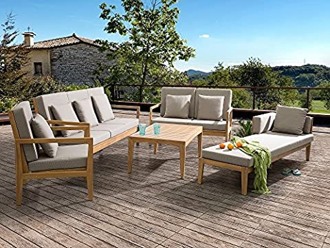Sectional Outdoor Sofa Set - 5- Piece Patio Conversation Set with Lounger - Brown - PATAJA