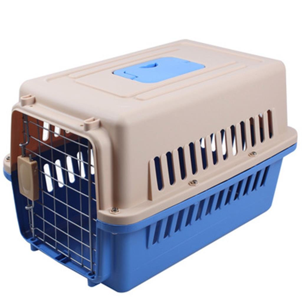 QYJpB Pet Air Box Dog Cat Consignment Box Travel Box Transport Cat Cage Two-Door Top-Load Pet Kennel Plastic Pets Kennel With Chrome Door(Available In A Variety Of Sizes) (color : Blue, Size : S)