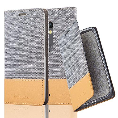 Cadorabo Hülle für Motorola Moto X Play - Hülle in HELL GRAU BRAUN – Handyhülle mit Standfunktion und Kartenfach im Stoff Design - Case Cover Schutzhülle Etui Tasche Book