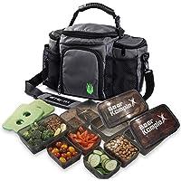 Borsa per la preparazione dei pasti isolata per il pranzo - Ampia, 6 tasche e 3 controlli delle porzioni nel cestino del…