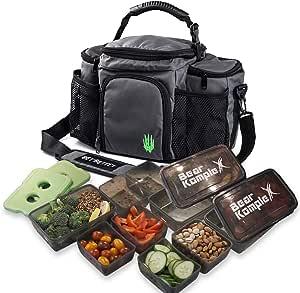 Borsa per la preparazione dei pasti isolata per il pranzo - Ampia, 6 tasche e 3 controlli delle porzioni nel cestino del pranzo