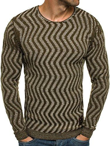 OZONEE Herren Strickjacke Pullover Strickpullover Sweats Strick BLACK ROCK 18027 Khaki_BR-18030