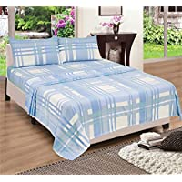 Blue Check Brushed Cotton Warm Flannelette Bedding Sheet Set Fitted Sheet, Flat Sheet , 2 x Pillowcases, Double