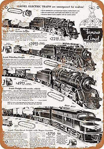 Mstiyce 1952 Lionel Electric Trains Retro Art Exquisite Traditionelle Blechschild 12 * 8 Werbung Markante Wanddekoration Geschenk