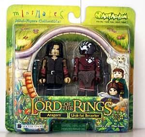 Le Seigneur des anneaux - Mini Mates Miniature Collectibles - Aragorn & Uruk-hai Berzerker - 7cm Figurines