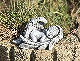 Steinfigur kleiner Baby Engel im Flügel Grabschmuck frostfest wetterfest