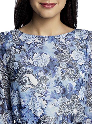oodji Ultra Femme Robe Mousseline avec Ceinture Bleu (7512F)