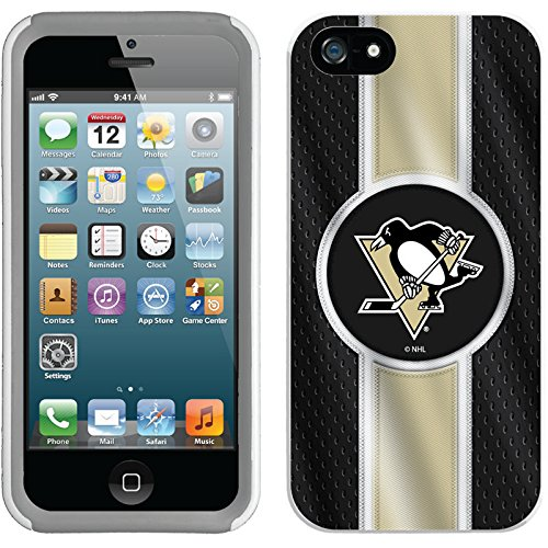 Coveroo iPhone 5/5S White-Grey New Guardian Case with Pittsburgh Penguins Jersey Stripe Design