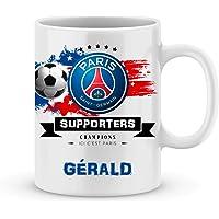 Mug de foot PSG à personnaliser avec votre prénom - Cadeau personnalisé foot ligue1 Paris Saint Germain - Cadeau…