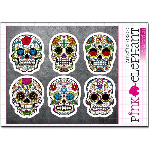 pinkelephant Totenkopf Aufkleber - Sugar Skull ssk49-54 - A5-Bogen calavera Day of the dead Dia de los muertos