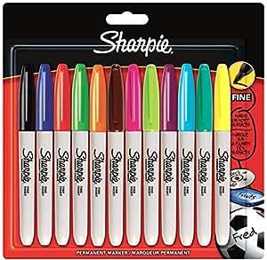 Sharpie S0811070 Pochette de 12Marqueurs Permanents à Pointe Fine Coloris Assortis