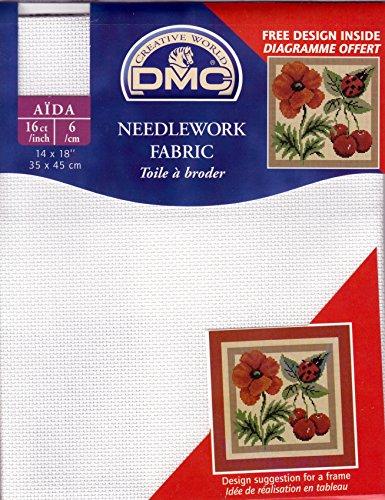 """DMC Stoffabschnitt in 16 Count Aida = 6 Fäden/Zentimeter - Größe 35 x 45 cm (Inches 14"""" x 18"""") - Farbe: blanc (weiss)"""