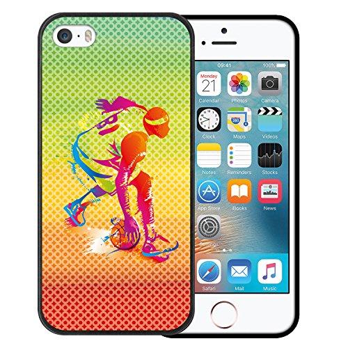 iPhone SE iPhone 5 5S Hülle, WoowCase Handyhülle Silikon für [ iPhone SE iPhone 5 5S ] Fußball Goalkeeper Schwarz Handytasche Handy Cover Case Schutzhülle Flexible TPU - Schwarz Housse Gel iPhone SE iPhone 5 5S Schwarze D0491