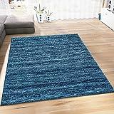 Wohnzimmer Teppich Modern Dunkel Blau Kurzflor Meliert Farbecht sehr Pflegeleicht 120x170 cm