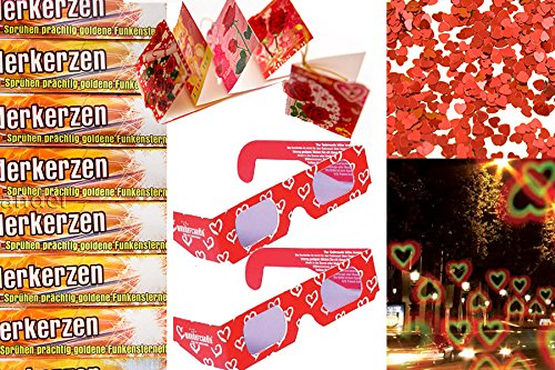 200 Wunderkerzen 30cm + 2 x 3D Brille Herz + Geschenkanhänger und Herzkonfetti