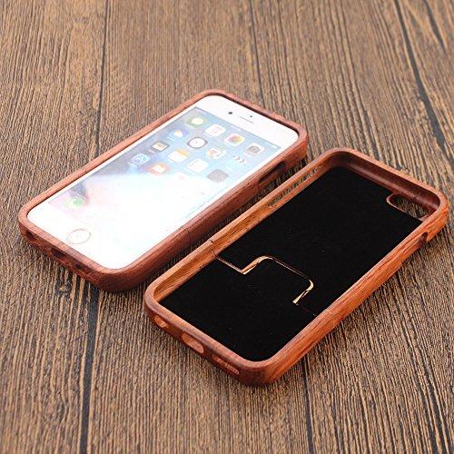 Holzhülle für iPhone 6 6S - Forepin® Rosenholz Ultra Slim Echtem Holz Etui Natürliche Handgemachte Wood Case mit Hart Back Cover Bumper Schutzhülle für Ihr iPhone 6 6S 4.7 Zoll Smartphone, Löwe Nase
