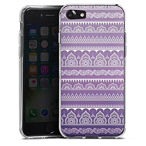 Apple iPhone X Silikon Hülle Case Schutzhülle Mandala Henna Indisch Lila Silikon Case transparent