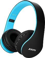 JIUHUFH Cuffia auricolare Bluetooth senza fili con microfono incorporato per PC/telefoni cellulari - Nero Blu