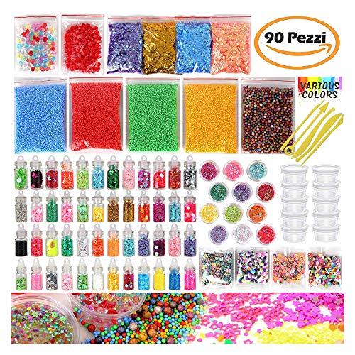 Meteor kit da 90 articoli per la preparazione fai da te di melma giocattolo, palline di schiuma, con perline schiacciate, glitter, contenitori, coriandoli, utensili per la melma