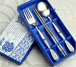AIMENTE 3 in 1 Vintage Tableware Set Chinese Style Stainless Steel Chopsticks Spoon Fork White and Blue Porcelain