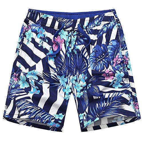 HOOM-Nouveau pantalon de plage d'été occasionnels Shorts hommes Camo coton taille lâche cinq pantalons shorts Color blue h