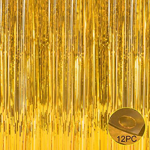 Folie Fransen Metallic Vorhang Hintergründen-mit Ballon Sticks 3ftx8ft Lametta glänzend Vorhänge Ideal für Foto Booth Party/Fenster/Tür Dekorative Fransen Vorhänge Gold (Silber-metallic Tisch Rock)