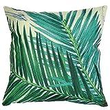 Luxbon Natura Stampato fogli di Cycas Primavera Stile cotone divano federa fodere per cuscino 45x 45cm