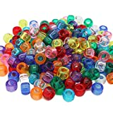 Beads Unlimited transparent Kunststoff Barrel Pony, klar, 6 x 8 mm _ P, plastik, mix, 6 x 8 mm