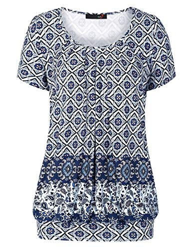 DJT Damen Casual Falten Kurzarm T-Shirt Kurzarmshirt Rundhals Stretch Tunika Blau Blumen M -