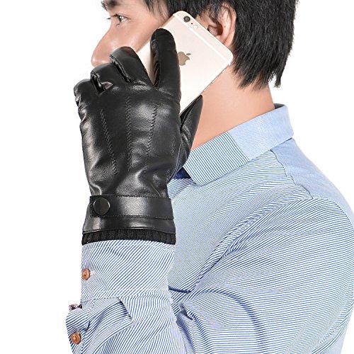GSG Gants luxueux en cuir nappa espagnol pour homme, compatibles écran tactile Conduite Textos Moto Hiver Chauds Black Full Palm Touch Screen