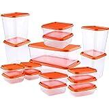 AMAYGA Contenitori Alimentari,Set contenitori per Alimenti plastica Senza BPA,Impilabile 17 Pezzi,Contenitore in plastica Tra