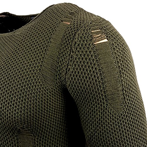 Herren Pullover RN13249 Grobstrick Strick Strickjacke Pulli Sweatshirt Sweat Neu Khaki