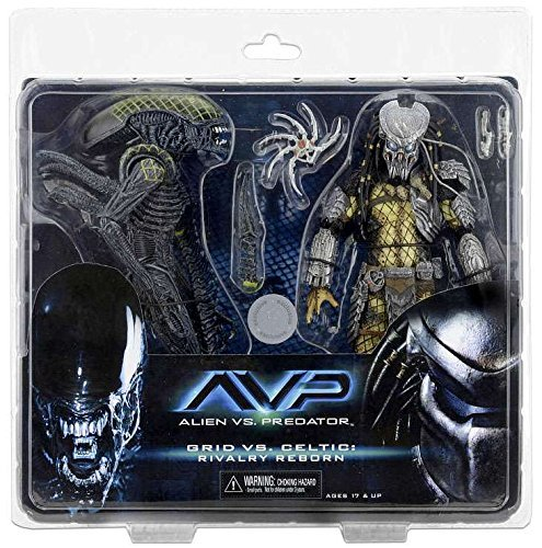 Alien Figuras de acción 51624, 17 cm, depredador, Celta dañado de Batalla vs Rejilla Dañada de Batalla, Juego de 2 1