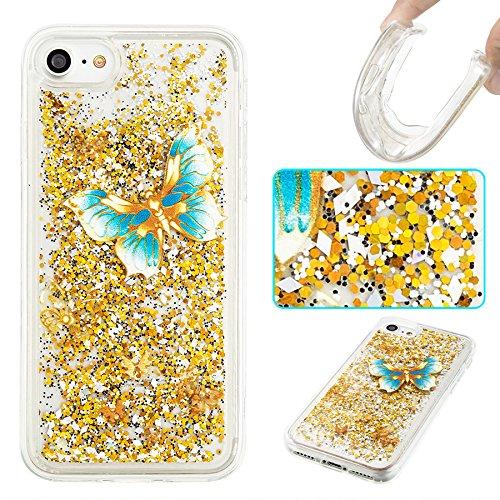 Ooboom® iPhone 5SE Hülle TPU Silikon Bumper Schutzhülle Handy Tasche Case Cover mit Funkeln Glänzend Bling Glitter - Gold Blätter Blau Schmetterling