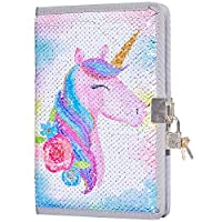 Beinou Unicorn Sequin Diary with Lock and Key, Girls Journal Mermaid Sequin Notebook Kids Travel Diary Unicorn Gift for Boys and Girls School Notebook