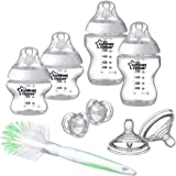Tommee Tippee Closer to Nature Newborn Baby Bottle Starter Set, Clear, 2 x 260 ml Bottles, 2 x 150 ml Bottles, Teats, Bottle & Teat Brush and Soothers