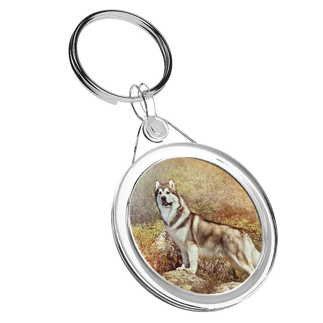 Destination Vinyl Keyrings 1 x Alaskan Malamute Wolf Dog – Keyring IR02 Mum Dad Kids Birthday Gift #15806
