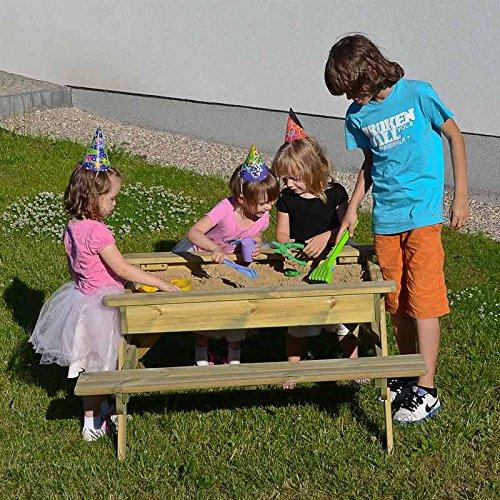 Gartenset für Kinder mit Sandkasten, Holz-Picknicktisch und Gartenbank mit 4 Sitzen - 2